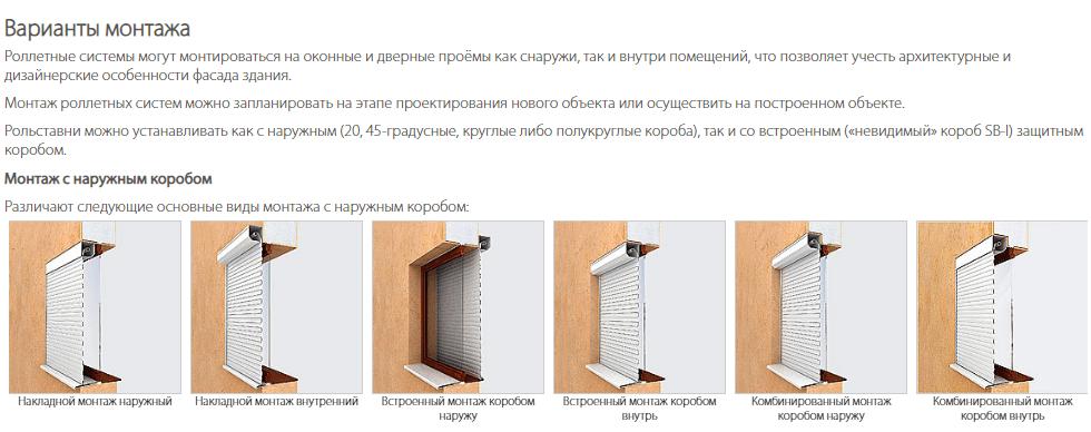 Схема монтажа защитных роллет-Харьков